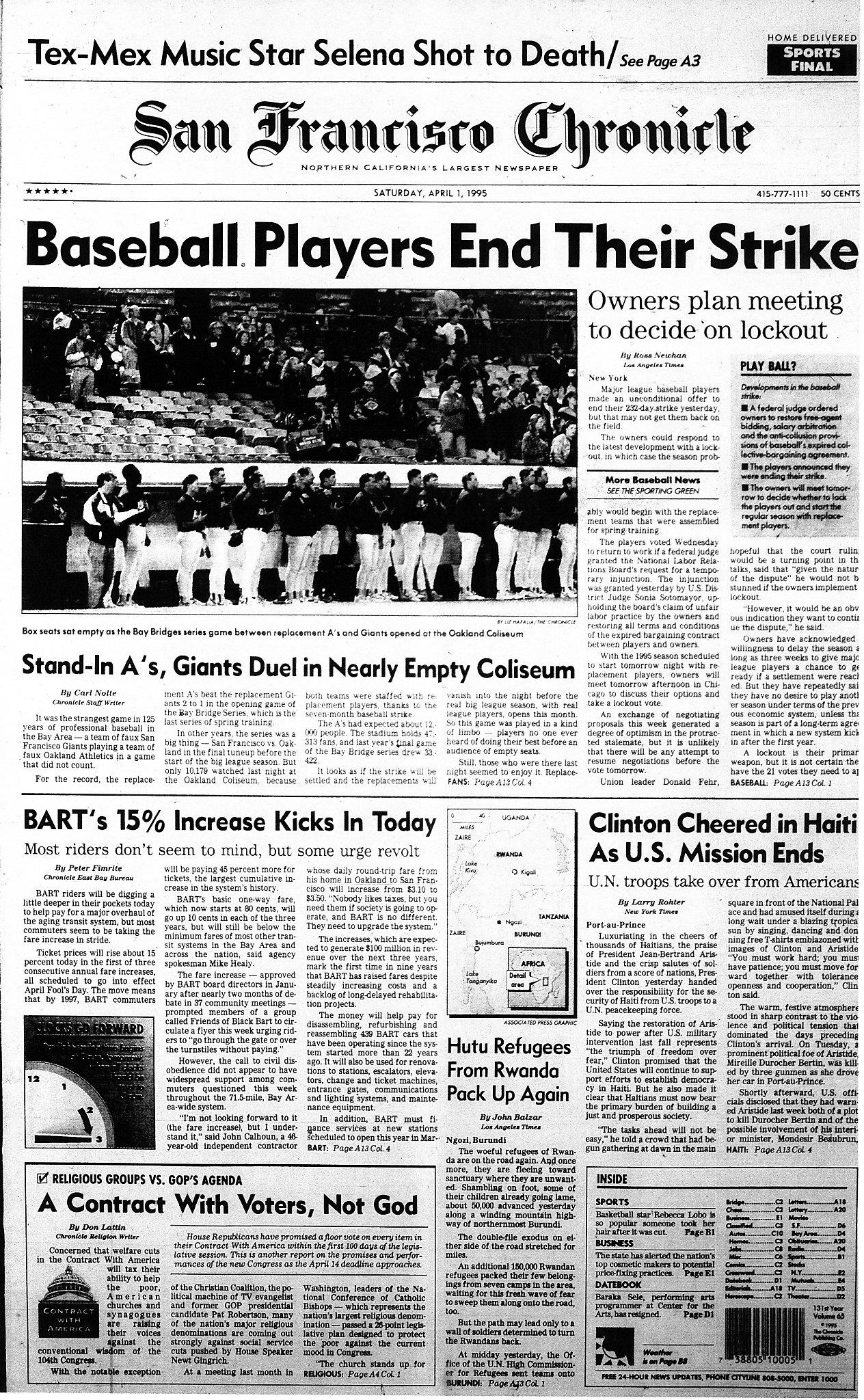 Chronicle Covers: When the end of the baseball strike was
