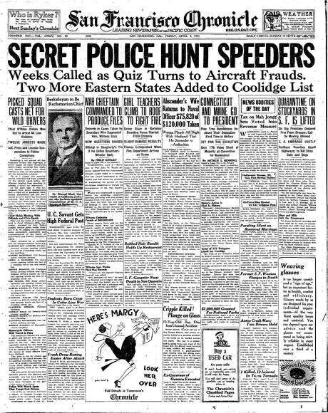 """The Chronicle's front page from April 4, 1924, covers the crackdown on """"automobile maniacs"""" by San Francisco police."""