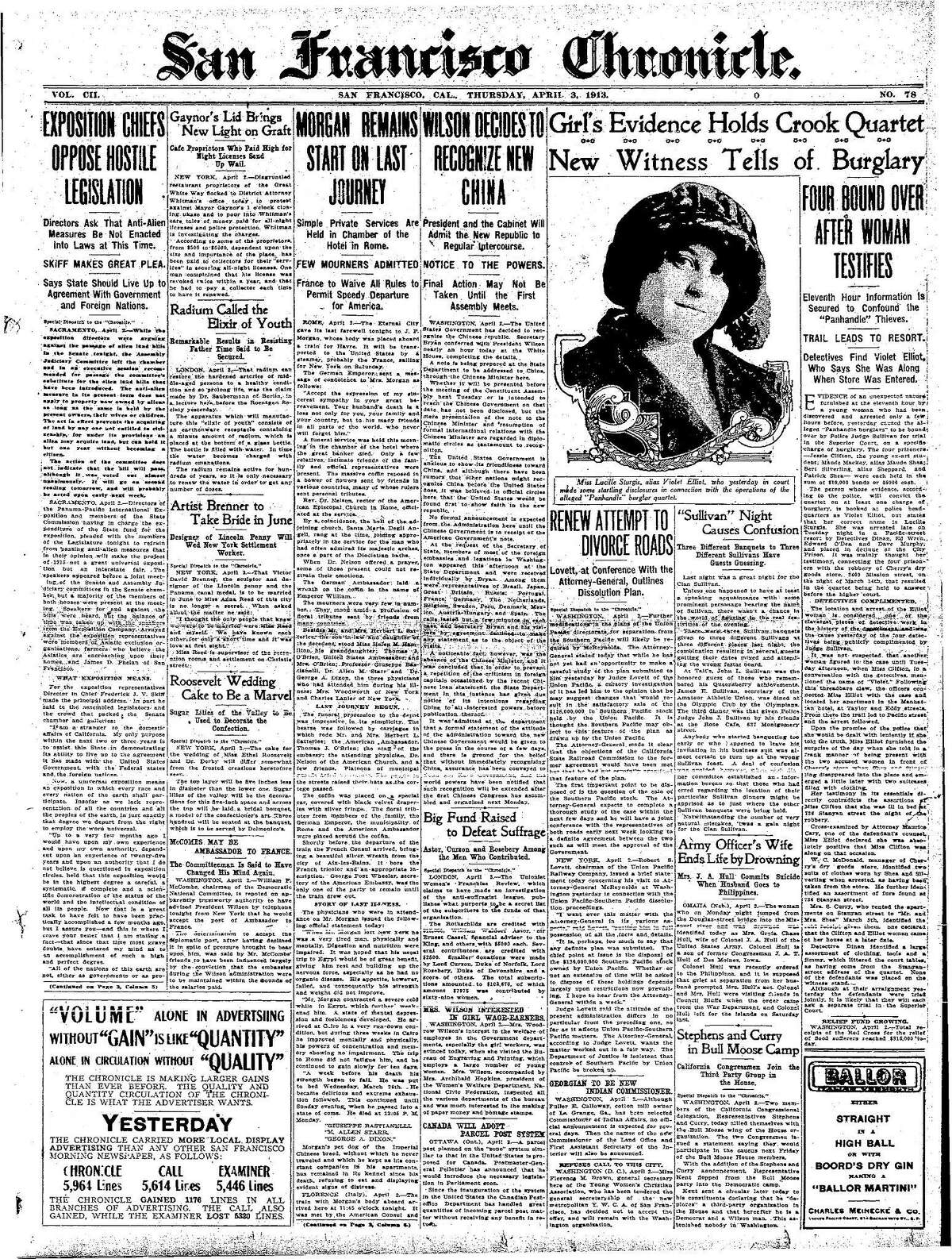 Historic Chronicle Front Page April 3, 1913 Girl's evidence have capture four burglars Chron365, Chroncover