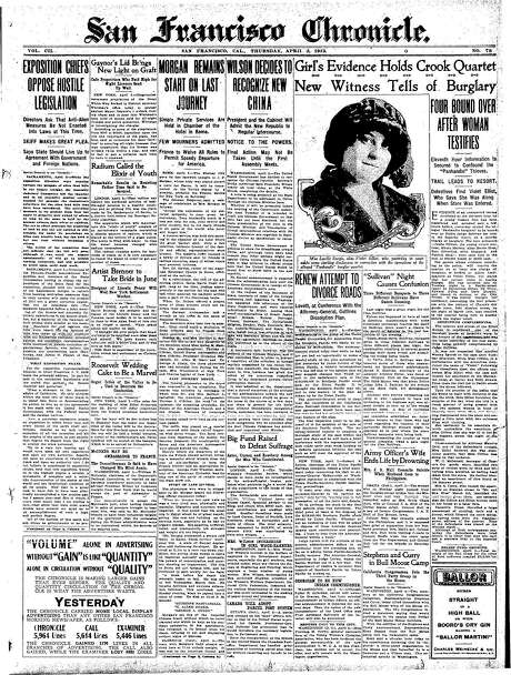 The Chronicle's front page from April 3, 1913, covers a burglary trial.
