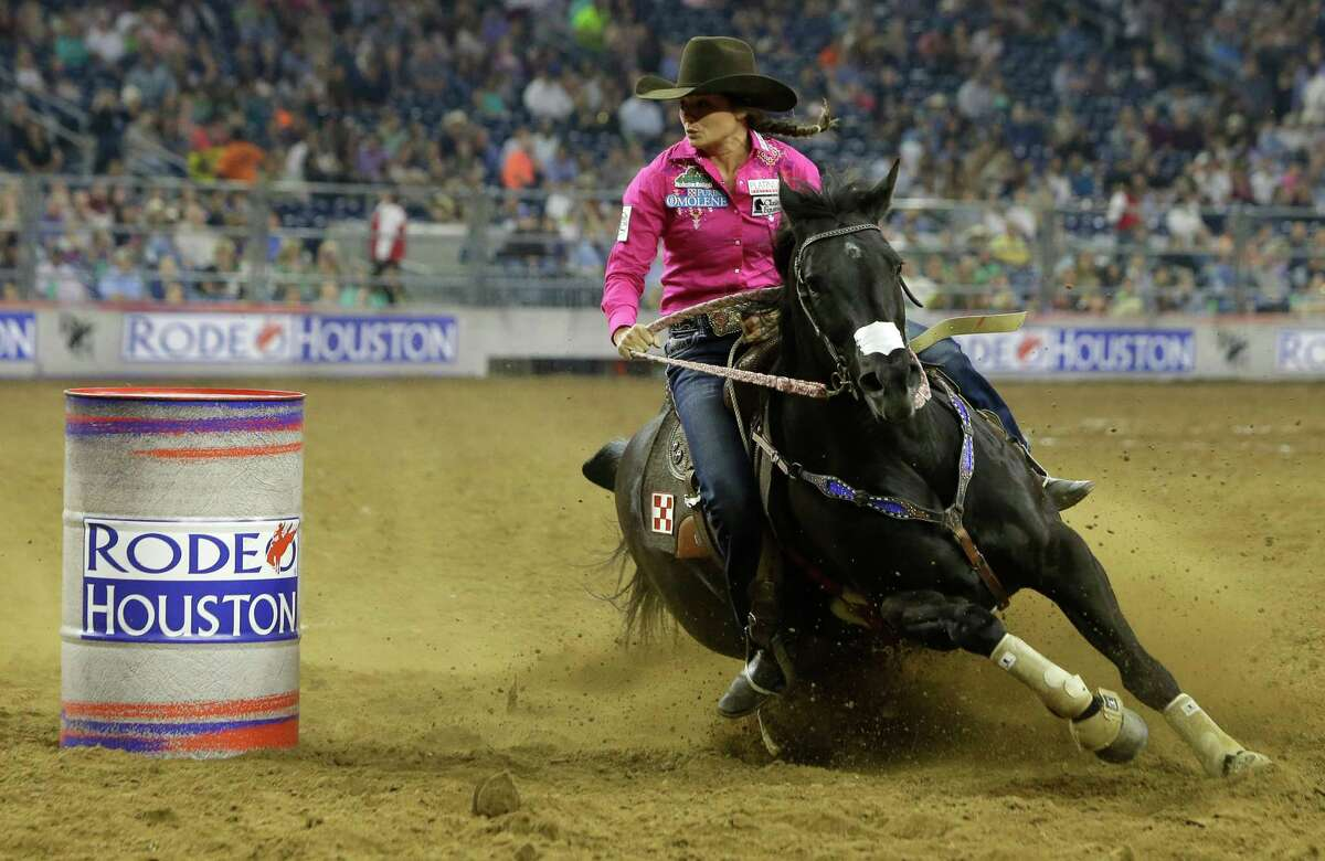 Britany Diaz of Solen, ND competes in barrel racing during the Houston Livestock Show and Rodeo in NGR Stadium Thursday, March 3, 2016, in Houston.