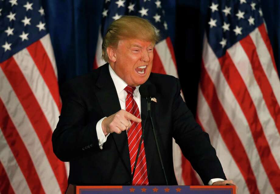 Republican presidential candidate Donald Trump speaks at campaign stop, Thursday, March 2, 2016, in Portland, Maine.(AP Photo/Robert F. Bukaty) Photo: Robert F. Bukaty, STF / AP