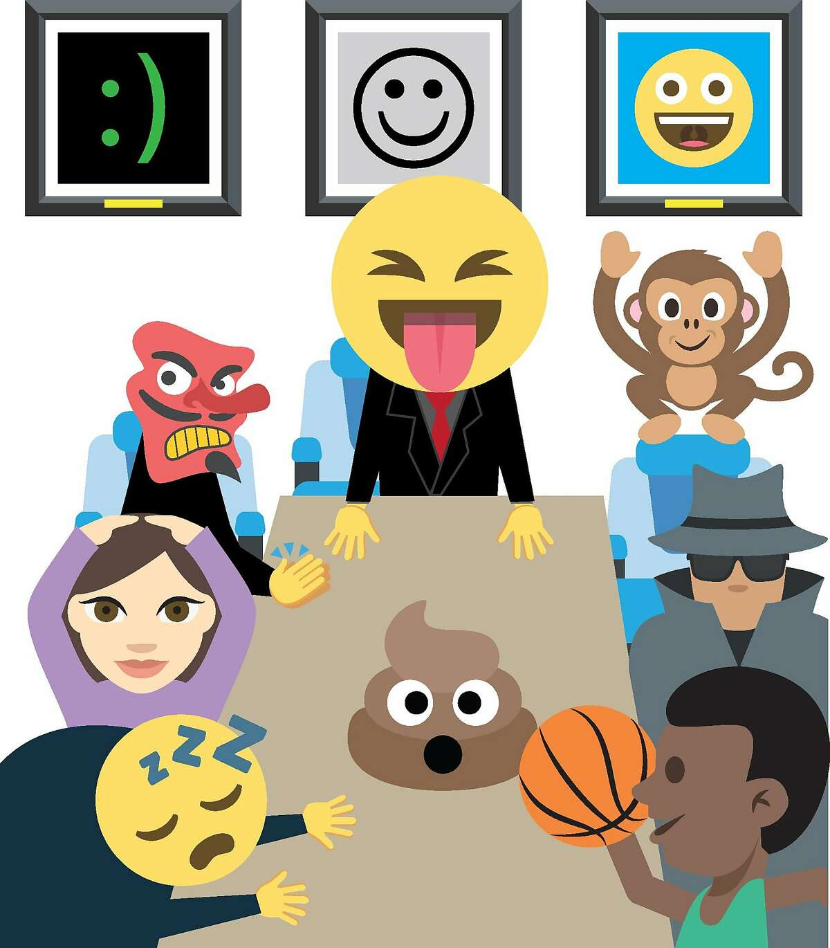 Emojis have become so popular that companies have recognized the symbols as �big marketing opportunities. Kit Kat, for example, wants a Kit Kat emoji. But who decides these things? As it turns out, a group known as Unicode Consortium, dominated by white male executives from Silicon Valley, determines what should be an emoji and what doesn�t. Illustration by Christopher T. Fong / The Chronicle and Emoji One