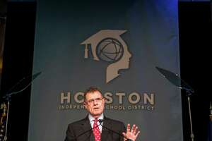 Dr. Terry Grier, outgoing superintendent of schools for the Houston Independent School District, speaks during the HISD State of The Schools event on Thursday, March 3, 2016, in Houston.