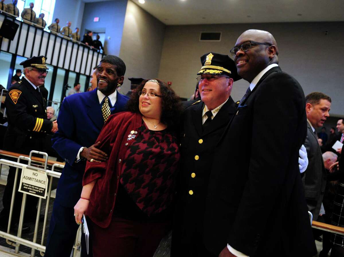 Armando Perez, the new acting Chief of Police for Bridgeport Police Department, took the oath of office which was administered by Mayor Joe Ganim at a Swearing-in Ceremony at City Hall Common Council Chambers in Bridgeport, Conn., on Thursday Mar. 3, 2016.