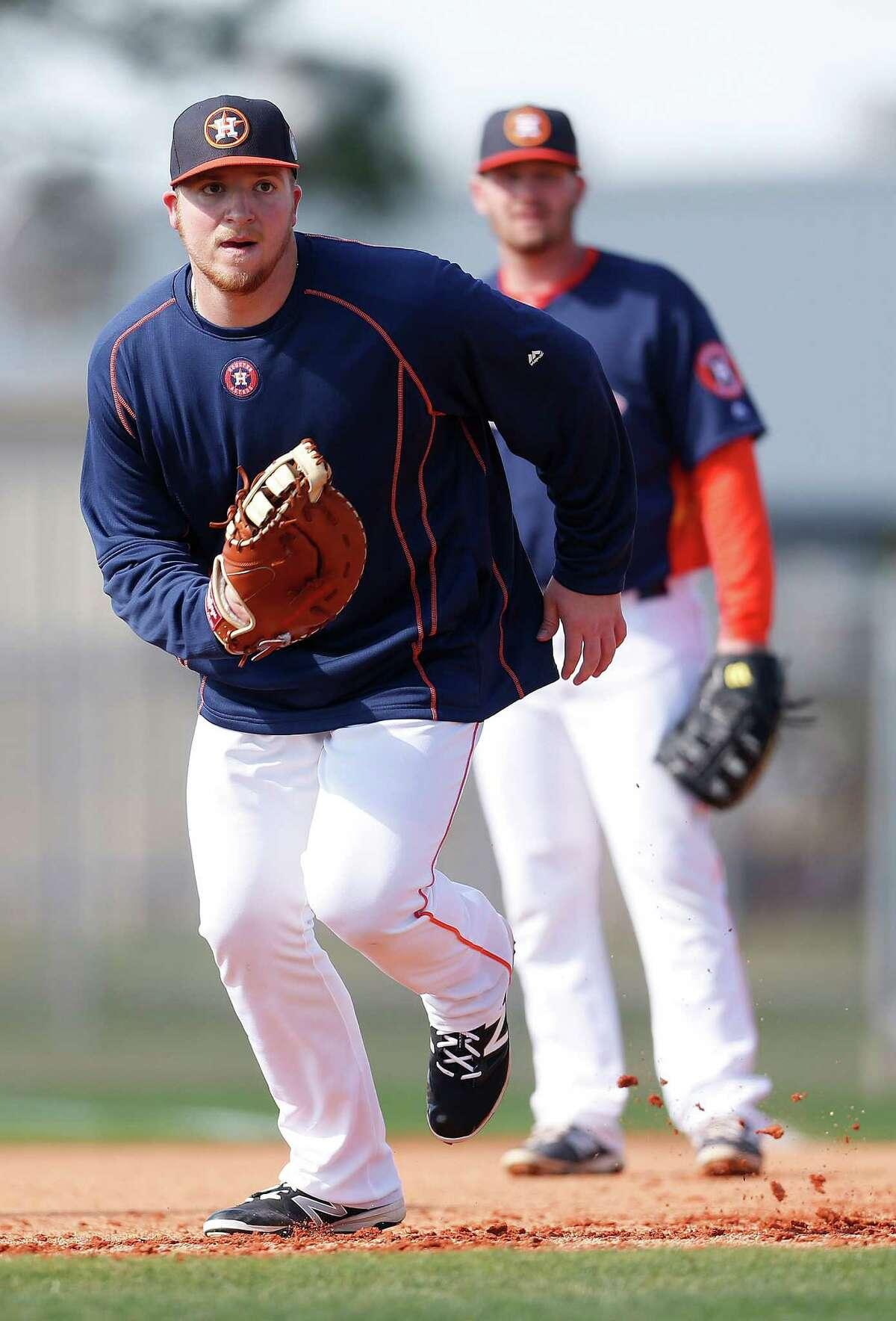 Houston Astros infielder A.J. Reed at the Astros spring training in Kissimmee, Florida, Thursday, Feb. 25, 2016.( Karen Warren / Houston Chronicle )