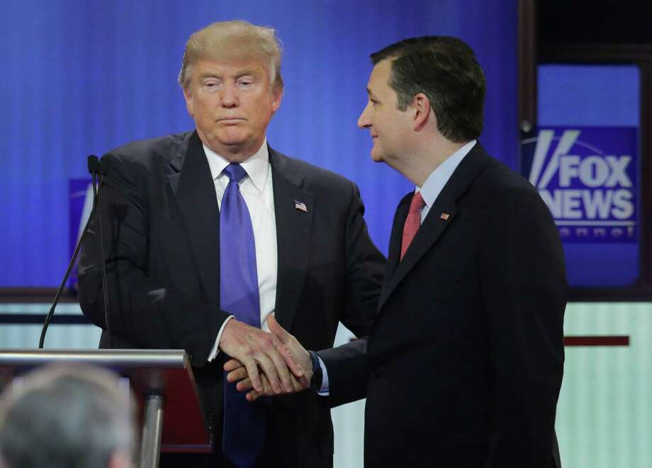 DETROIT, MI - MARCH 03:  Republican presidential candidates (Lto R) Donald Trump and Sen. Ted Cruz (R-TX) greet each following a debate sponsored by Fox News at the Fox theatre on March 3, 2016 in Detroit, Michigan. Voters in Michigan will go to the polls March 8 for the State's primary. Photo: Chip Somodevilla, Getty Images / 2016 Getty Images