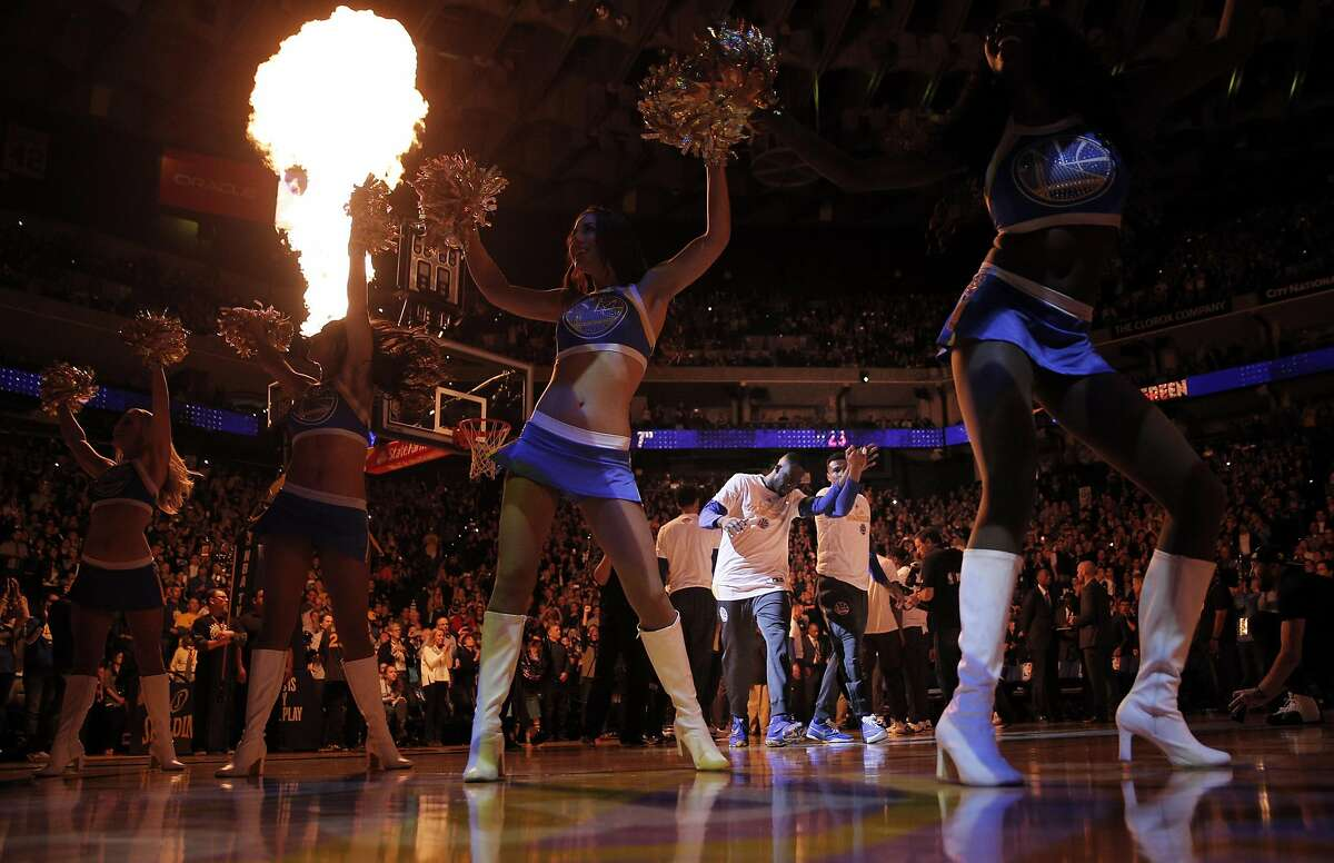 Warriors players are introduced before the Golden State Warriors played the Oklahoma City Thunder at Oracle Arena in Oakland, Calif., on Thursday, March 3, 2016.