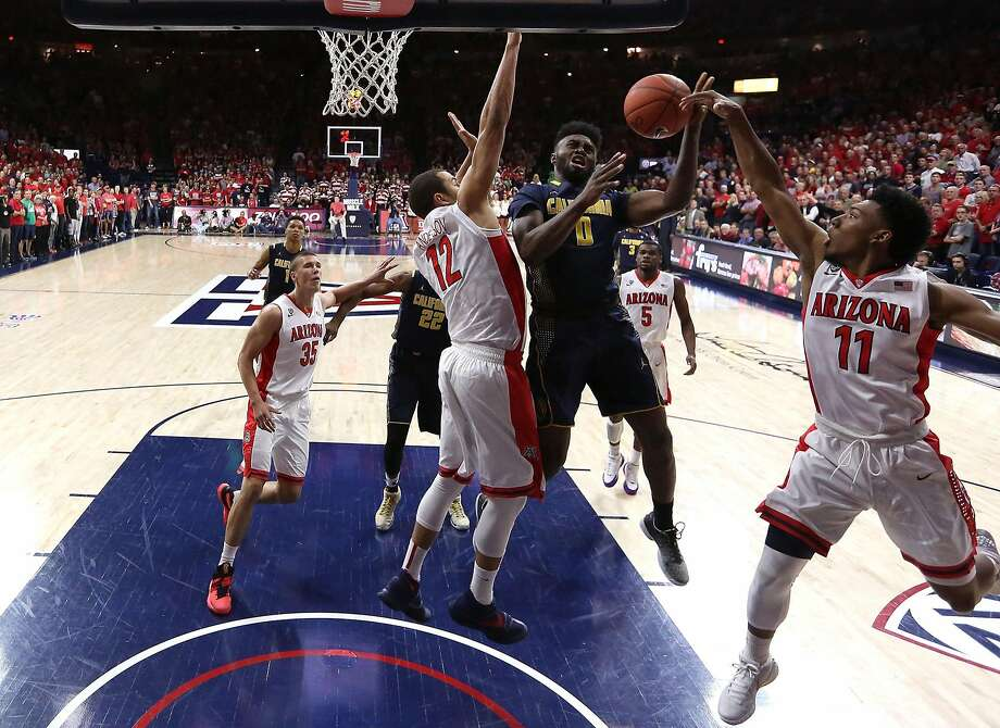 Jaylen Brown, who was 2-for-9 from the floor, shoots over Ryan Anderson (12) and Allonzo Trier. Photo: Chris Coduto, Getty Images