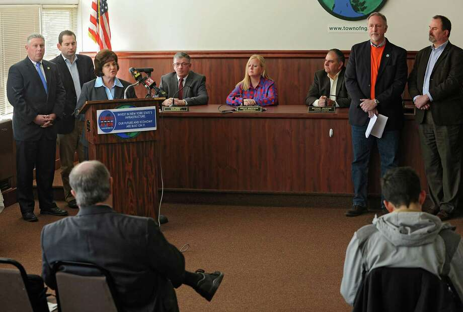 NYS Senator Kathleen Marchione and other officials advocate for appropriate investment in the state's deteriorating roads and bridges at North Greenbush Town Hall on Thursday, March 3, 2016 in North Greenbush, N.Y.  (Lori Van Buren / Times Union) Photo: Lori Van Buren / 10035696A
