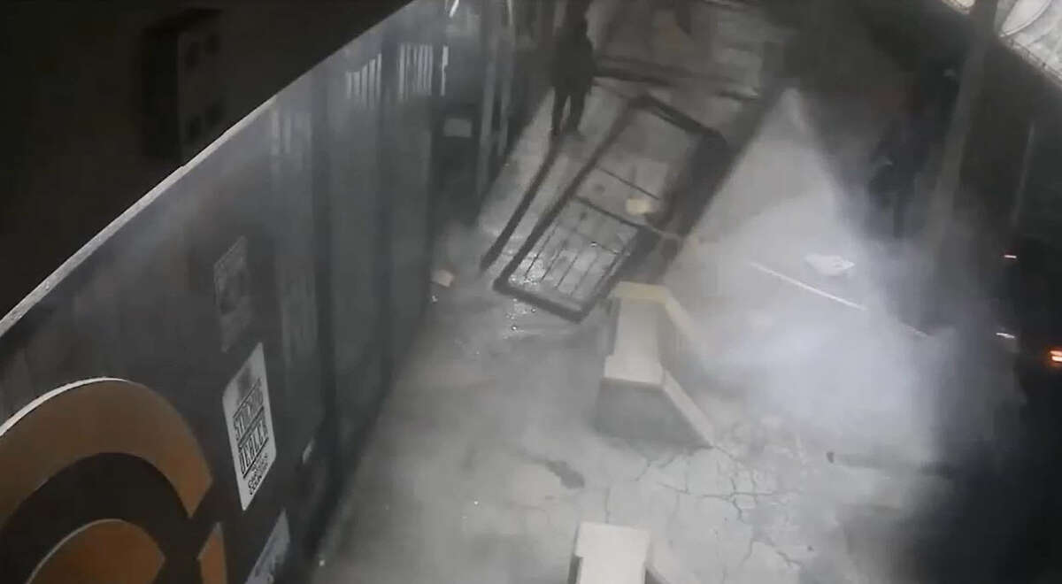 A group of as many as 10 thieves made off with thousands of dollars worth of weapons during an organized heist of Carter's Country firearm store in Houston on Tuesday, March 1, 2016. The thieves ripped off the security door with a pickup truck, then flooded inside, smashed display cases and made off with at least 50 weapons.