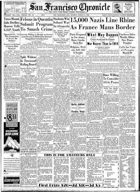 The Chronicle's front page from March 8, 1936, covers Nazi troops entering the Rhineland.