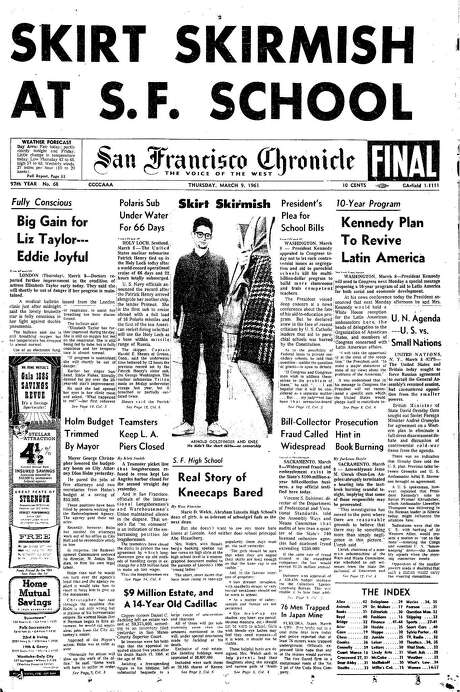 The Chronicle's front page from March 9, 1961, covers a dress code controversy at a San Francisco school.