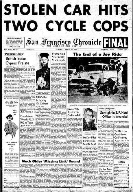 The Chronicle's front page from March 10, 1956, covers a joyride gone wrong.