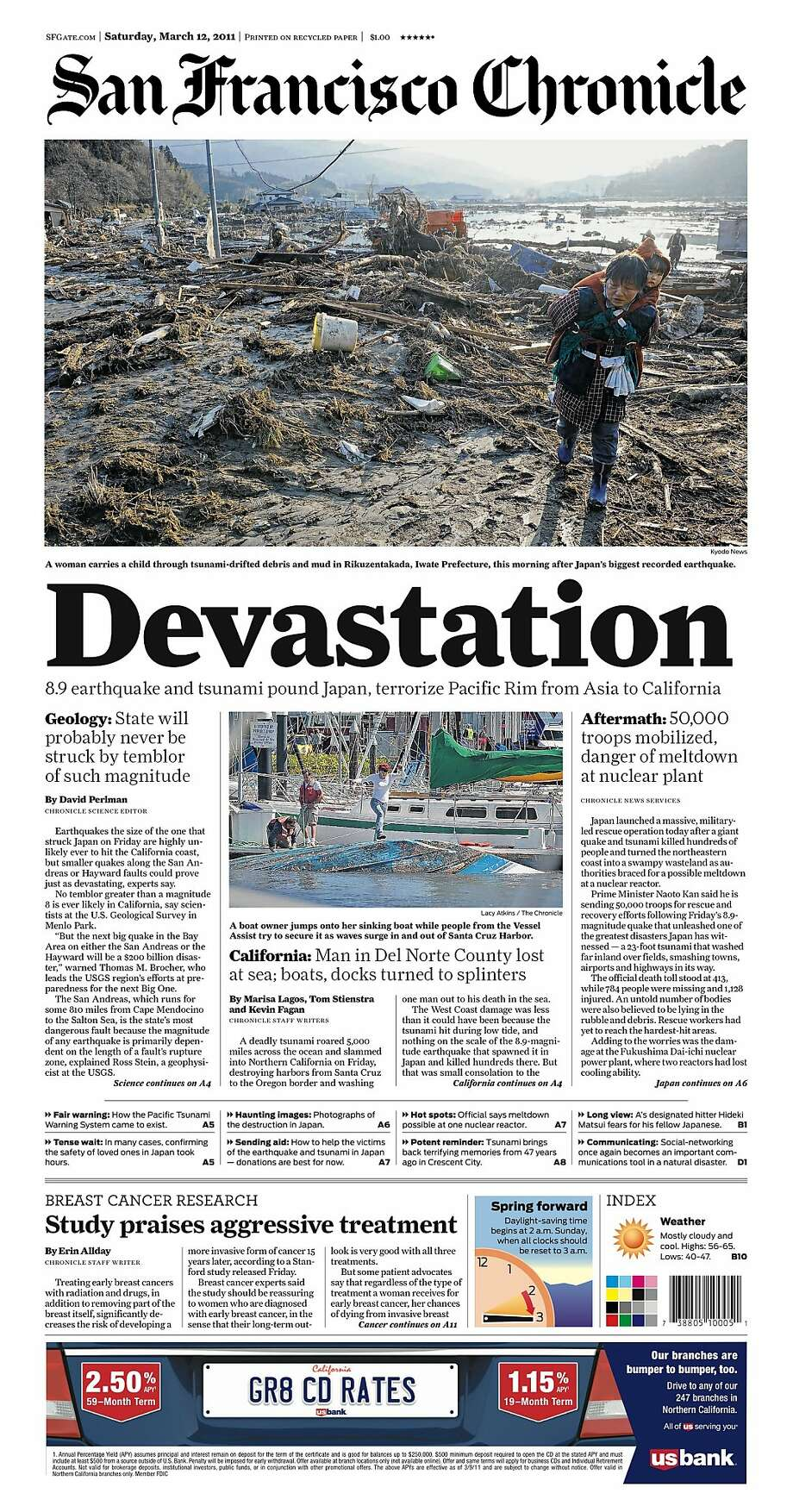 Chronicle Covers When Quake Tsunami Brought Devastation