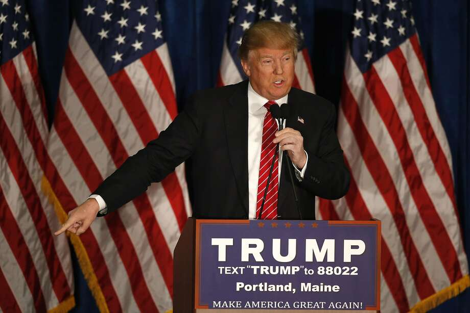 Republican presidential candidate Donald Trump says Mitt Romney had come to him begging for for help, Thursday, March 3, 2016,  during a campaign stop in Portland, Maine.(AP Photo/Robert F. Bukaty) Photo: Robert F. Bukaty, AP