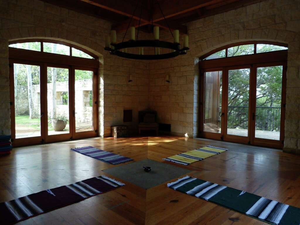 Guided meditation classes at travaasa austin are held in this room nestled in a quiet lake austin spa resort