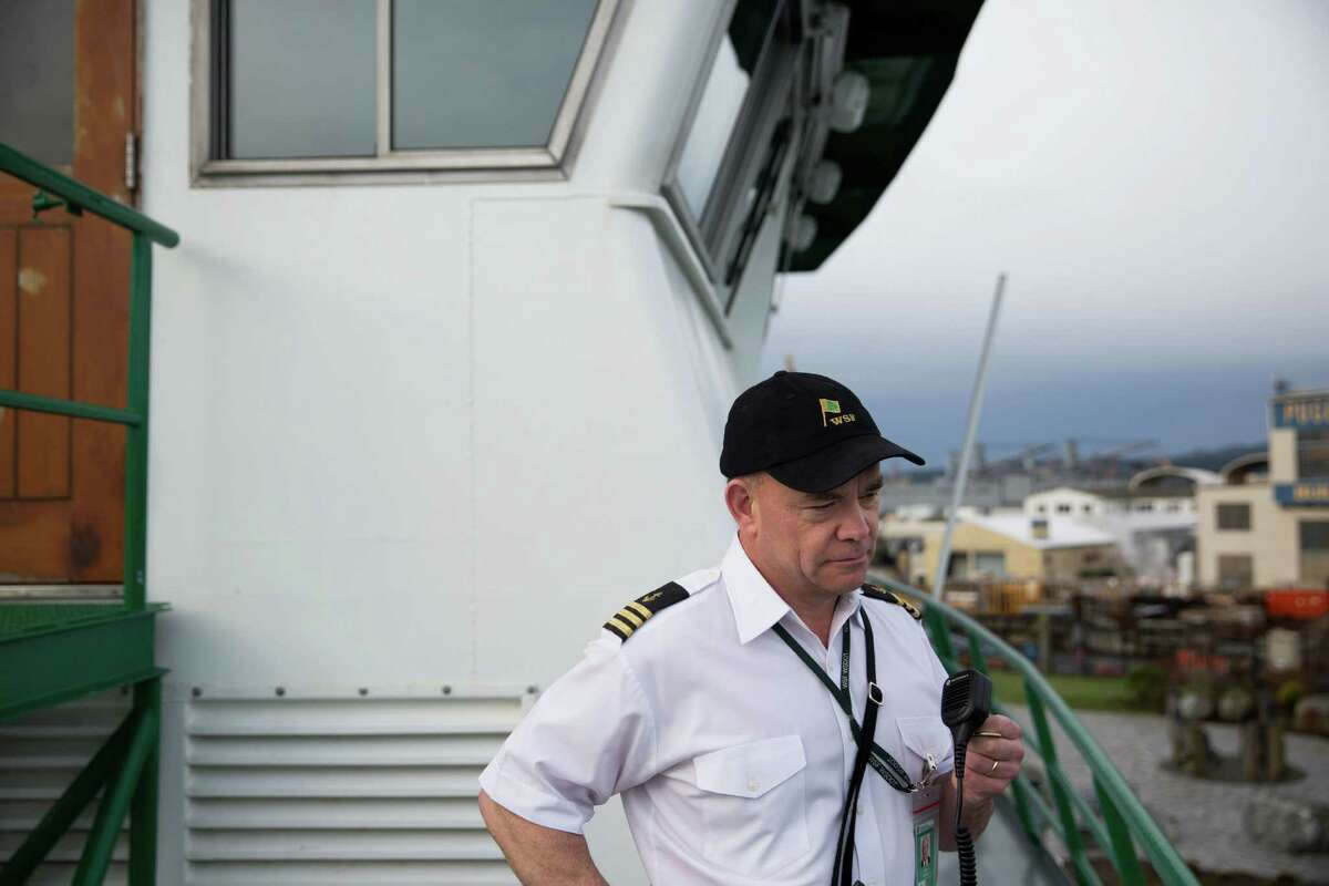 Relief mate Alex Johnson calls to other crew during a tour of the ferry M/V Kaleetan, in Bremerton, Friday, March 4, 2016.