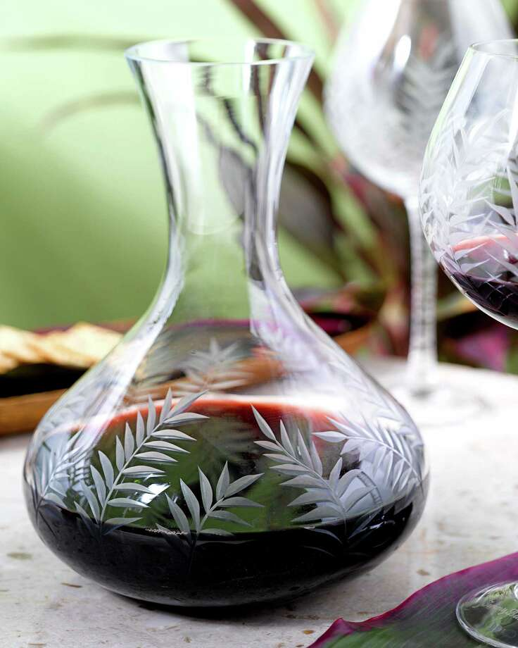 Etched palm tree decanter, $58