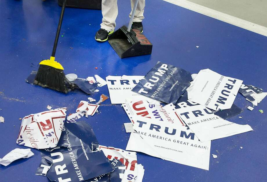 WARREN, MI - MARCH 04:  A worker sweeps the floor following a rally with Republican presidential candidate Donald Trump at Macomb Community College on March 4, 2016 in Warren, Michigan. Voters in Michigan will go to the polls March 8 for the State's primary.  (Photo by Scott Olson/Getty Images) Photo: Scott Olson, Getty Images