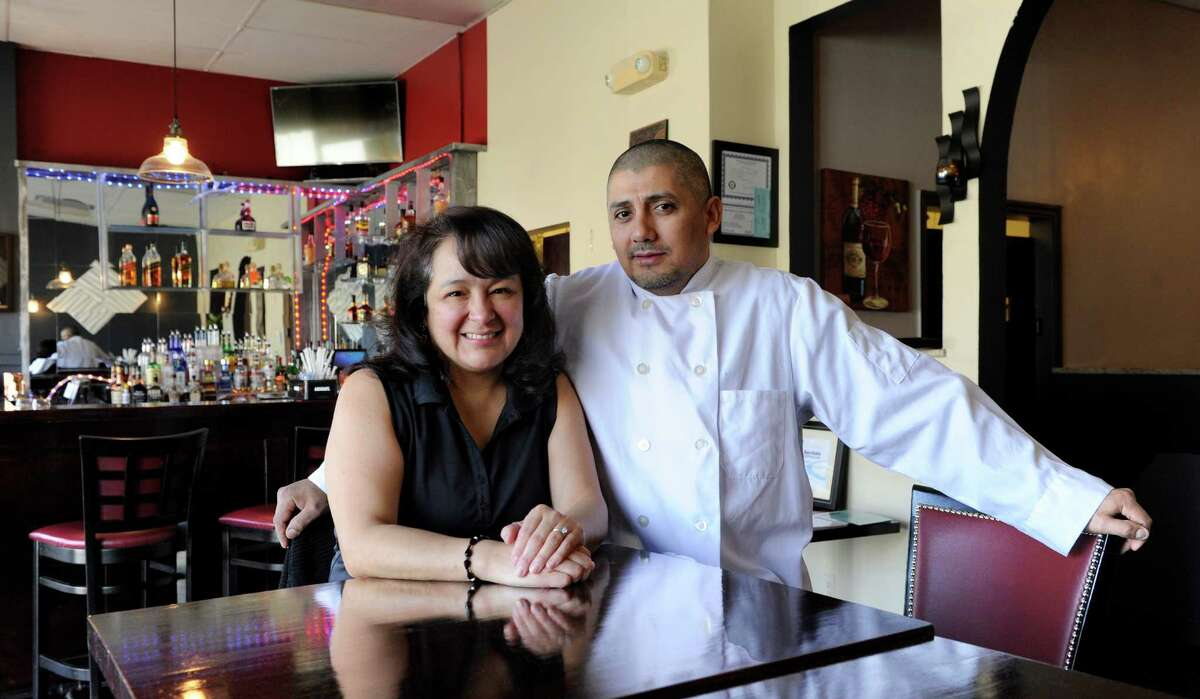 Sandra Parra-Flores and Carlos Flores, are a husband and wife team, that own and operate Copas, a restaurant on Grassy Plain Street in Bethel. Photo Friday, February 26, 2016.