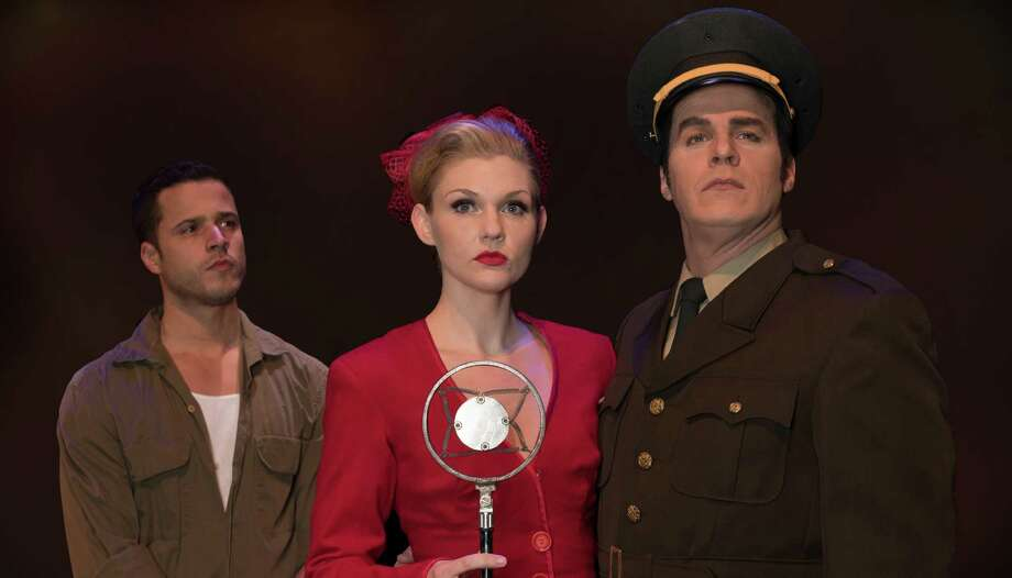 "Christy McIntosh as Eva Peron, Lance Anthony as Juan Peron, right, and Christian Cardozo as Che star in ""Evita"" March 11-26 at the Downtown Cabaret Theatre in Bridgeport. Find out more. Photo: Kevin McNair /Contributed Photo"