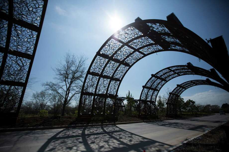 The entrance to Cane Island has several arches that light up at night. The master-planned community, expected to eventually have more than 2,000 homes. Photo: Marie D. De Jesus, Staff / © 2016 Houston Chronicle