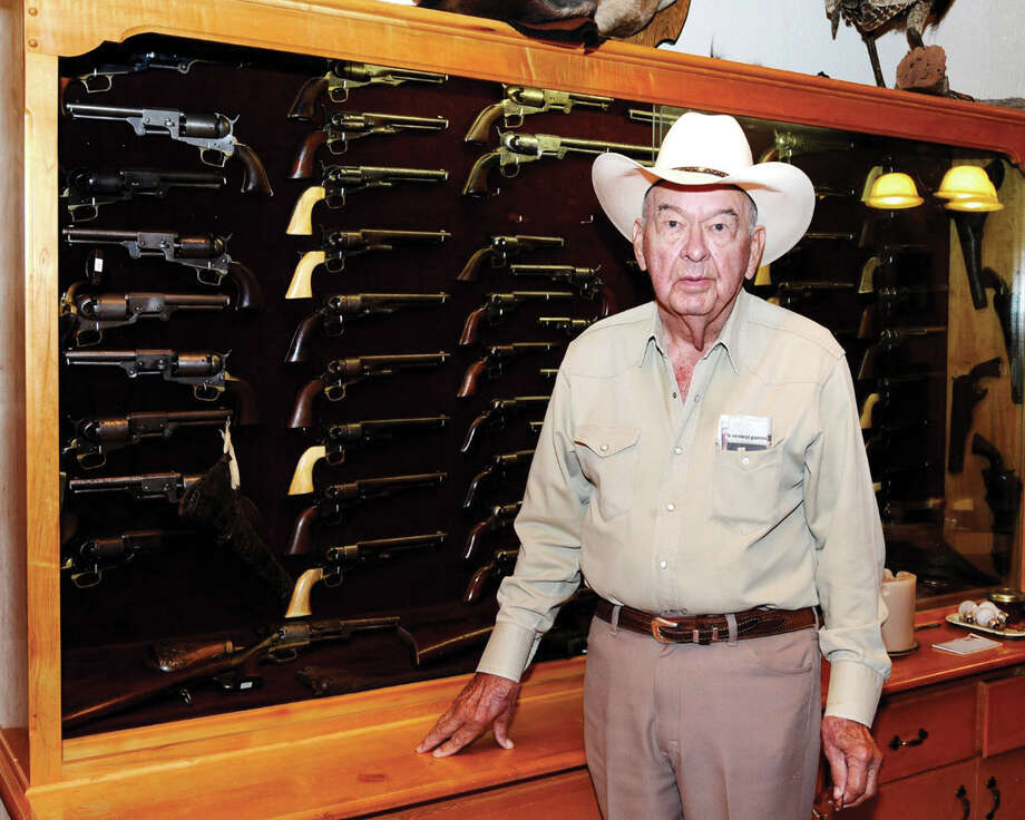 """Bill Stewart of Sonora, Texas, who spent much of his life collecting a phenomenal collection of historic, rare and desirable Colts and Winchester rifles. Bill lived until nearly 90 years of age and his ancestors were some of the original settlers on Brazos and Colorado rivers. Photo: Courtesy James Julia, Courtesy"