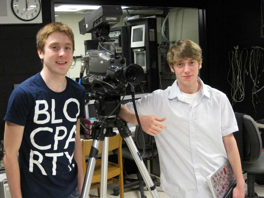 David Bartlett, 17 (left)  and Matt Subrizi, 17, (right) both seniors at Masuk High School, won a video contest sponsored by the state Department of Motor Vehicles. The video asked students to make a public service announcement about distracted driving. Photo: Contributed Photo / Connecticut Post Contributed