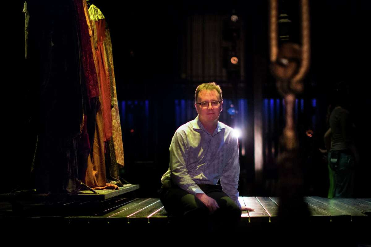 """David Feheley Houston Grand Opera's technical and production director sits on the set designed specifically for Carlisle Floyd's final opera, """"Prince of Players."""""""