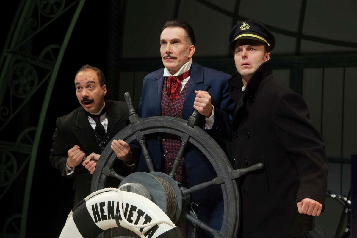 """Evan Zes, from left, Todd Waite and Jay Sullivan star in the Alley Theatre's """"Around the World in 80 Days."""""""