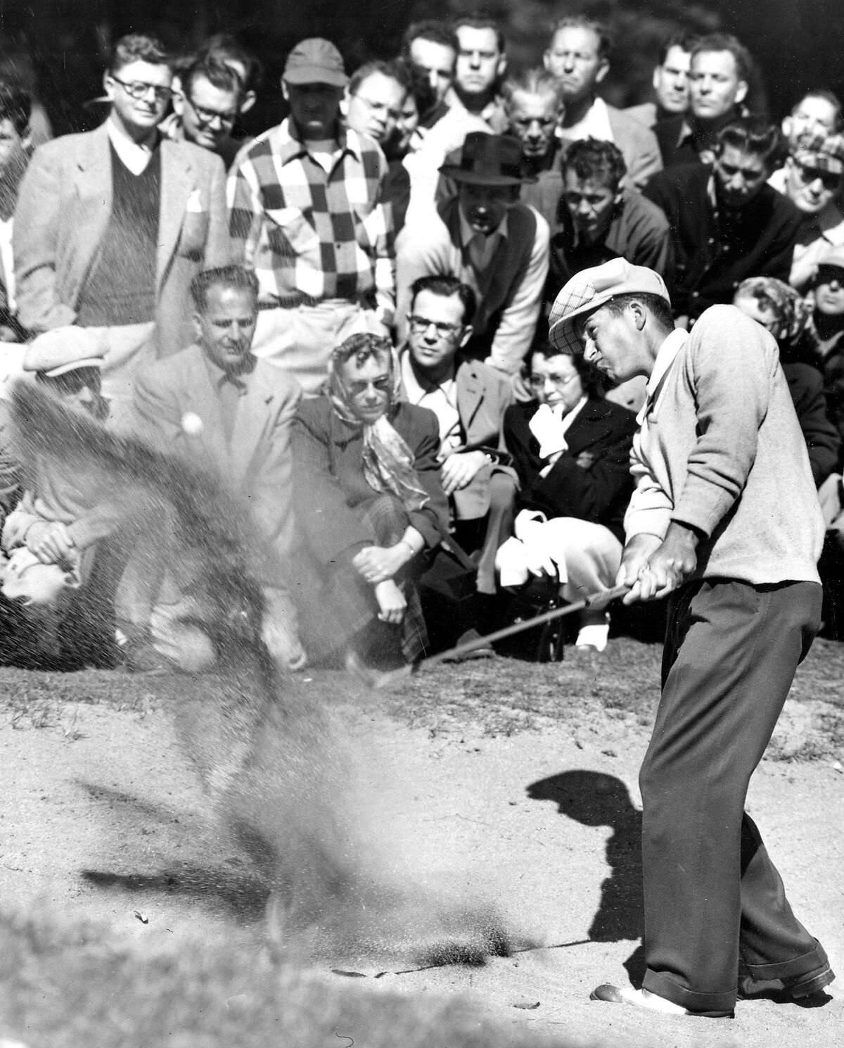 Ken Venturi in a sand trap of the 8th hole at Harding at the San Francisco City Golf Championships 1953, which Venturi would win Photo ran 3/30/1953