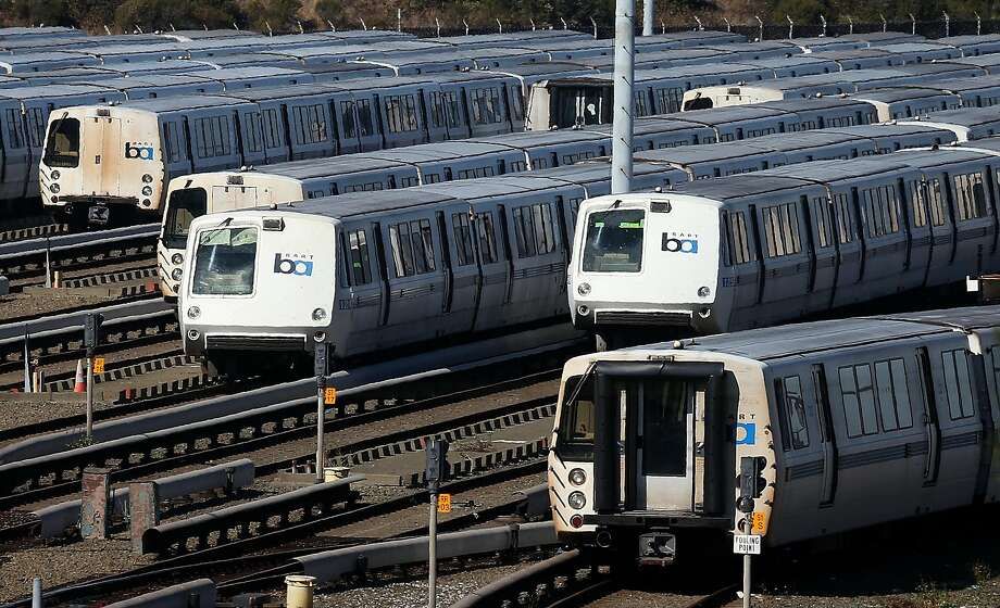 RICHMOND, CA - OCTOBER 18:  Bay Area Rapid Transit (BART) trains sit idle at a BART maintenance facility on the first day of the BART strike on October 18, 2013 in Richmond, California. (Photo by Justin Sullivan/Getty Images) Photo: Justin Sullivan, Getty Images