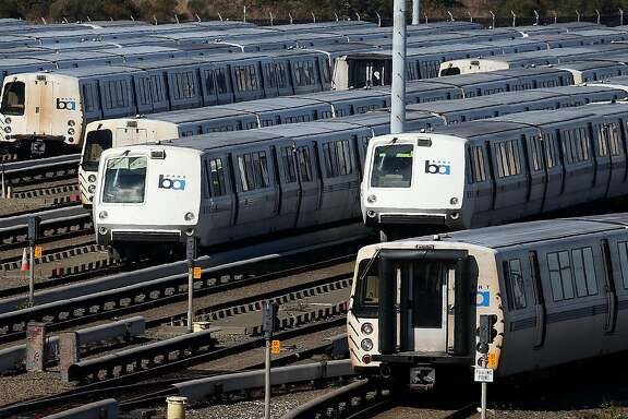 RICHMOND, CA - OCTOBER 18:  Bay Area Rapid Transit (BART) trains sit idle at a BART maintenance facility on the first day of the BART strike on October 18, 2013 in Richmond, California.  For the second time this year, BART workers have gone on strike after contract negotiations between BART management and the transit agency's two largest unions fell apart yesterday afternoon. Management and unions agreed on the financial specifics of the contract but differed on workplace safety rules.  (Photo by Justin Sullivan/Getty Images)