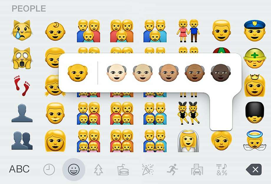 This screen shot made Thursday, April 9, 2015 on an iPhone 6 shows some of the new emojis available with the iOS 8.3 software update. The batch of more than 300 new emojis includes ones different skin tones and depictions of families with two moms or two dads. (AP Photo) Photo: Uncredited, Associated Press