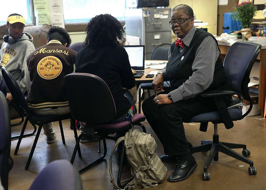 African-american community liaison Linda Jordan (right) advises seniors on college, scholarships, and financial aid applications at Mission High School in San Francisco, California, on friday,  march 4, 2016.  Google is giving a racial justice grant for their MyBrothers Sisters Keeper initiative ensuring every African American senior  will have individualized mentoring and guidance for financial aid. Photo: Liz Hafalia Elizabeth Hafalia, The Chronicle