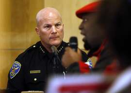 Lonnell McLaurin asks for action in the police involved shooting death of Mario Woods as San Francisco Police Chief Greg Suhr listens during San Francisco Police Commission meeting at Salvation Army Kroc Center in San Francisco, Calif., on Wednesday, January 20, 2016.