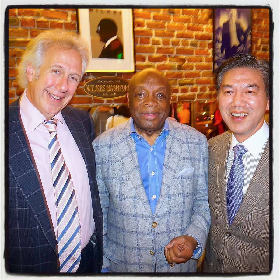 Entertainer Robert Vickers (a.k.a. Bud E. Luv, left), Willie Brown and Paul Tanphanich at a Wilkes Bashford tribute. Photo: Catherine Bigelow, Special To The Chronicle