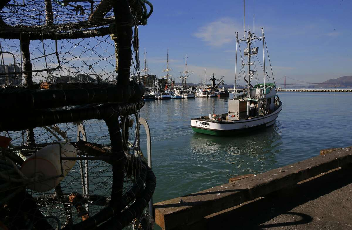 The crab boat Willanina pulls away from Pier 45 in San Francisco, Calif. on Thurs. November 5, 2015.
