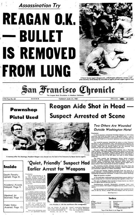 The Chronicle's front page from March 31, 1981, covers an assassination attempt on President Ronald Reagan. Photo: Justin Beck