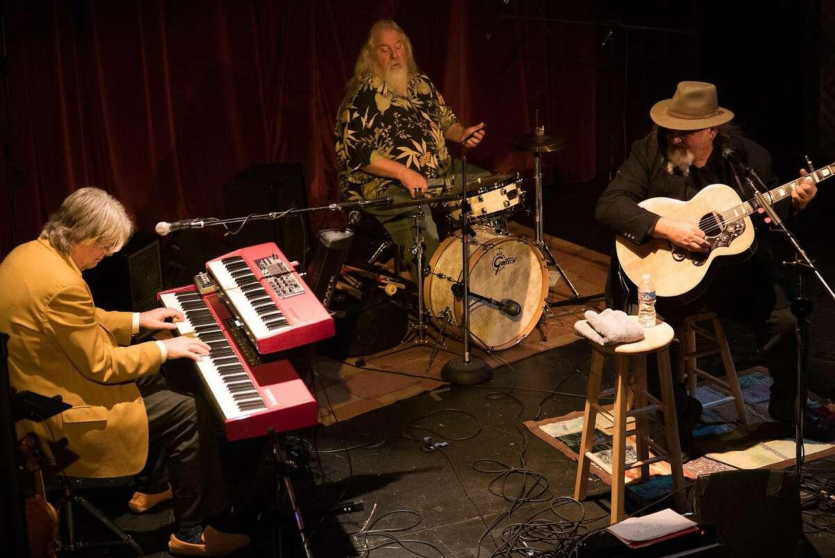 Top left: Henry Salvia (left), Peter Tucker and Travis Jones of Houston Jones perform at the Sutter Creek Theater.