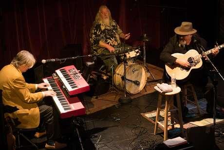 Top left: Henry Salvia (left), Peter Tucker and Travis Jones of Houston Jones perform at the Sutter Creek Theater. Photo: James Tensuan