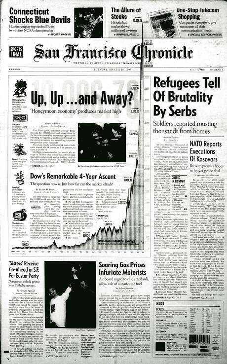 The Chronicle's front page from March 30, 1999, covers the stock market surge.