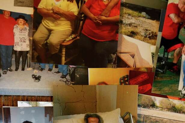 A collage of images of recently deceased Pedro Barrera from his wife Dorothy Patton Barrera in Normanna, Texas on Friday, Mar. 4, 2016. The widow Barrera is fighting to have the cremated remains of her husband to be buried at the San Domingo Cemetery in Normanna, Texas. However, Barrera wishes were refused by Jimmy Bradford who is the apparent caretaker for the cemetery. Barrera was initially told that Hispanics nor black persons were not allowed to be buried there. Barrera railed against the idea of not being allowed to do so and has hired attorney Sid Arizmendez of Beeville to help rectify the situation. Late Friday, Barrera was informed that Bradford reconsidered his position and has allowed her to bury her husband at the cemetery. Barrera, however, is still considering or legal action so that future issues regarding race will not take place at the cemetery.