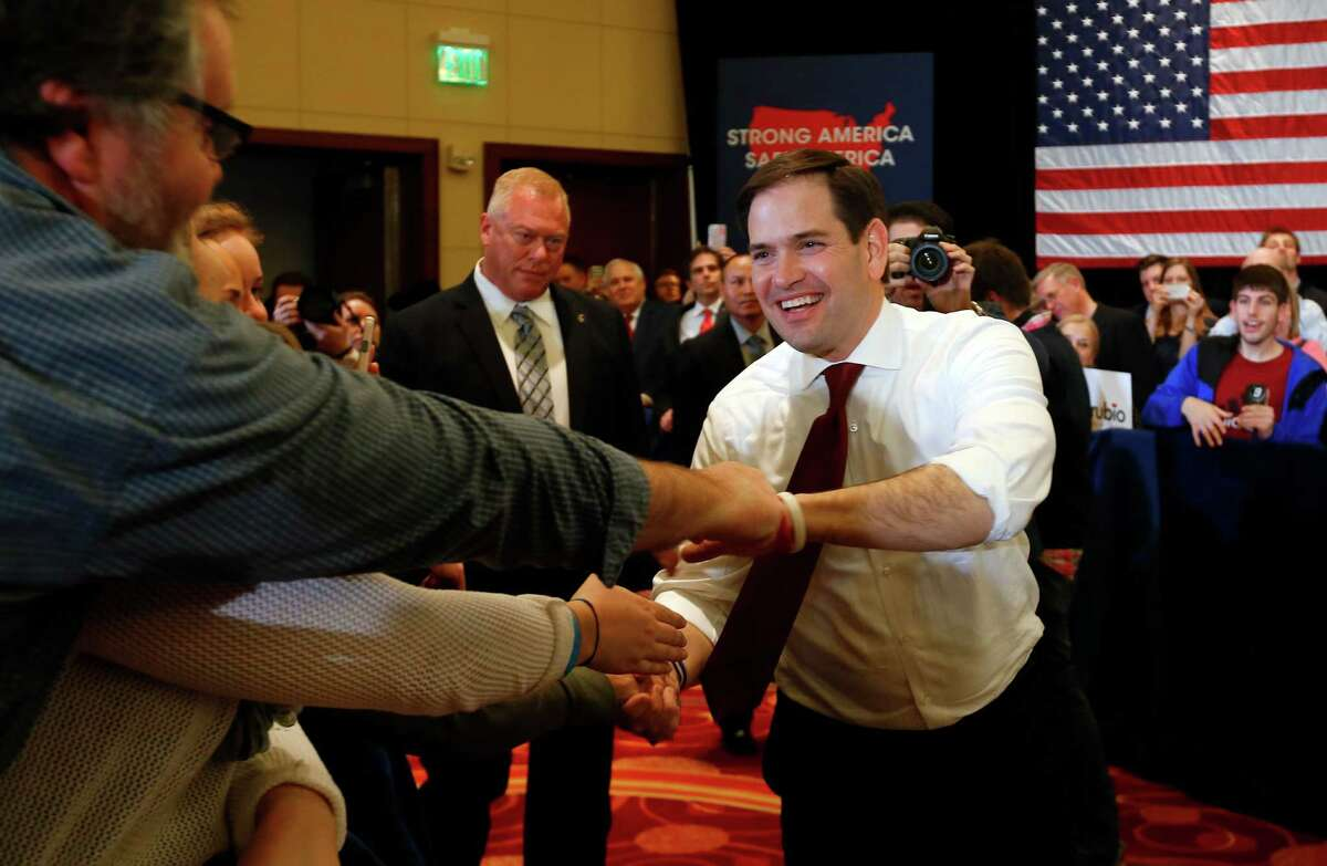 Republican presidential candidate, Sen. Marco Rubio, R-Fla., arrives at a campaign rally in Overland Park, Kan., Friday, March 4, 2016. (AP Photo/Paul Sancya)