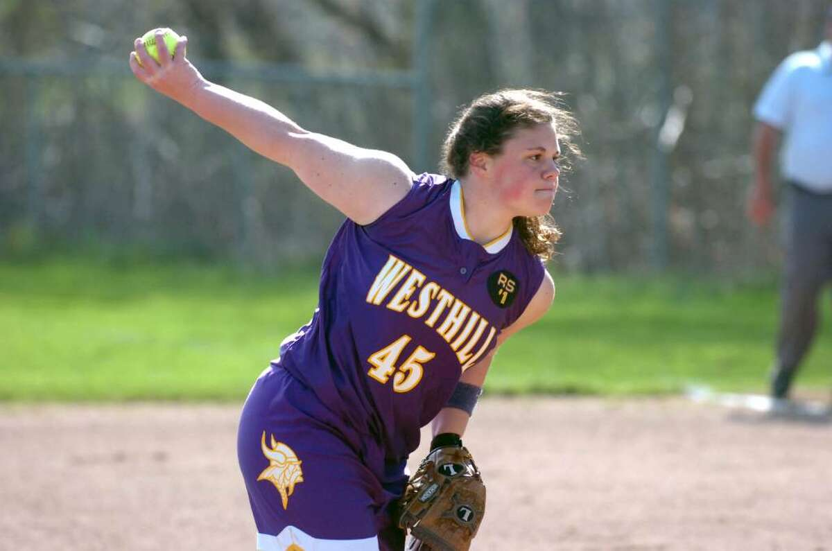 Westhill pitcher Jen Joseph in action as Trinity Catholic hosts Westhill High School in a girls softball game Thursday afternoon, April 8, 2010. Westhill won the game 4-0.
