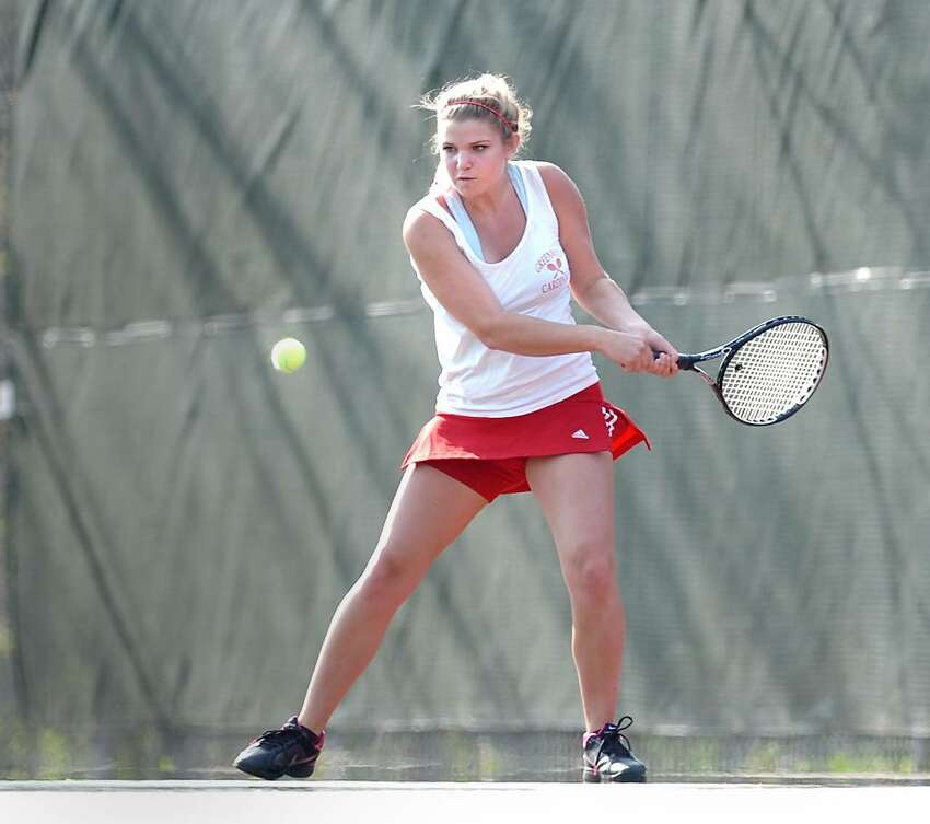 Andrea Carlsson of Greenwich High School during her match against Fairfield Warde's Marysa Walsh, April 8, 2010, at GHS.