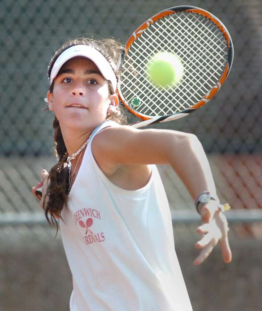 Jen DeLuca of Greenwich High School in action during her match against Christie Schneider of Fairfield Warde High School, April 8, 2010, at GHS.