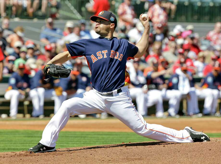 Houston Astros' Wandy Rodriguez pitches against the St. Louis Cardinals in the first inning of a spring training baseball game, Friday, March 4, 2016, in Kissimmee, Fla. Photo: John Raoux, AP / Copyright 2016 The Associated Press. All rights reserved. This material may not be published, broadcast, rewritten or redistribu