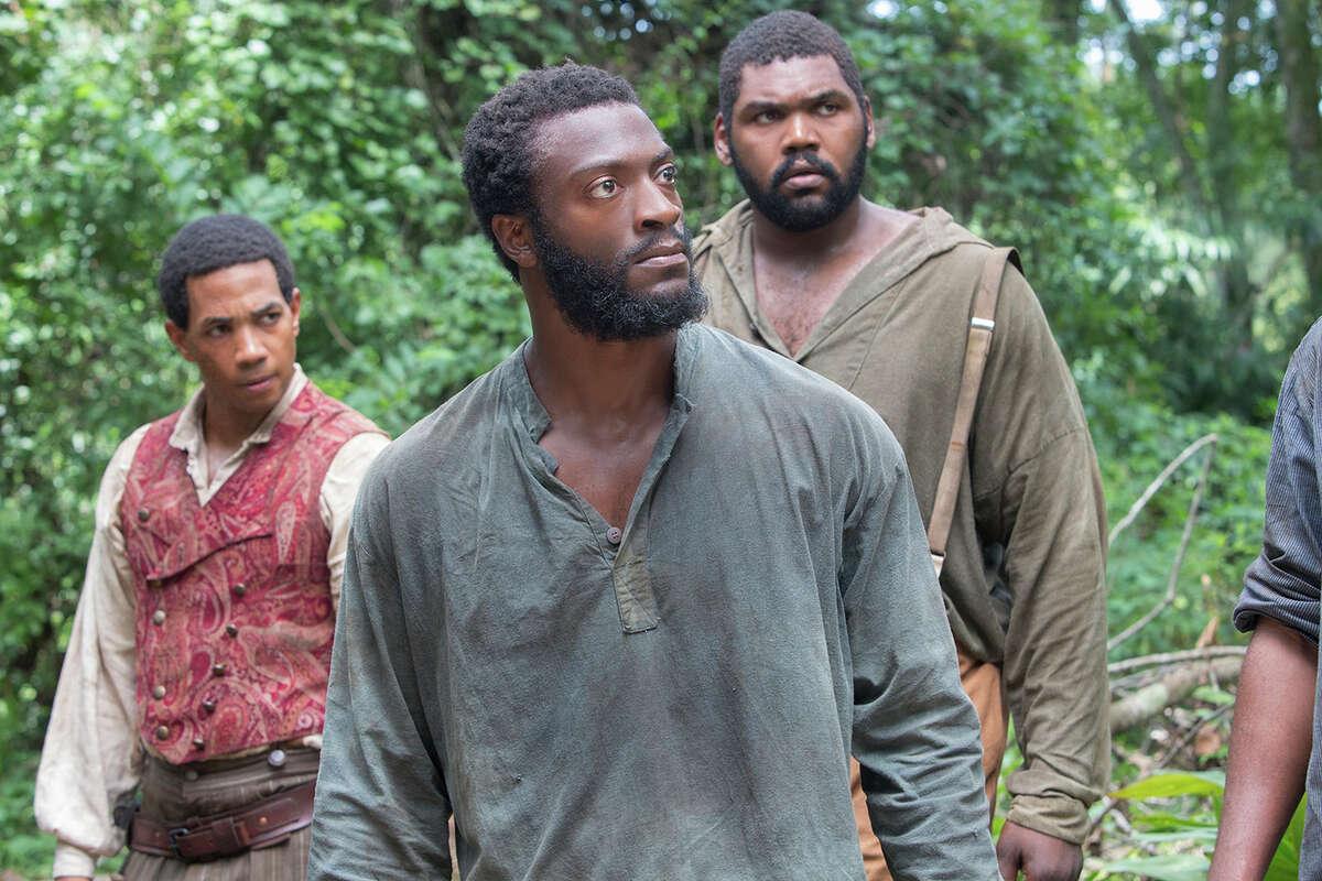 "Slaves Cato (Alano Miller, left), Noah (Aldis Hodge) and Zeke (Theodus Crane) try to escape in ""Underground."""